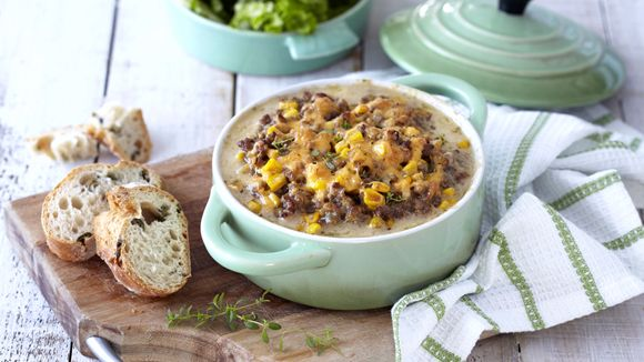 CHEESY MINCE AND SWEETCORN PASTA BAKE - This mince and pasta dish is full of flavour and a popular family meal. It is one of those easy pasta recipes you will make again and again!