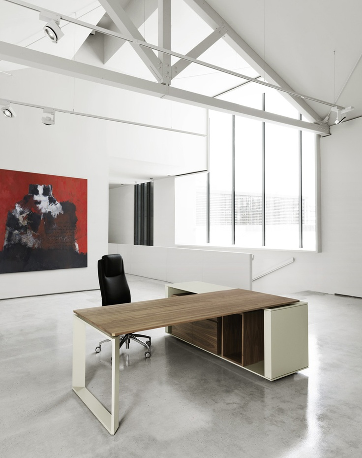 MV, Natural wood office furniture by AG Land & Black or White by Sitia