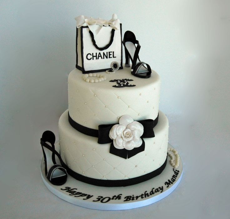 Chanel theme fondant birthday cake with gumpaste shoes ...