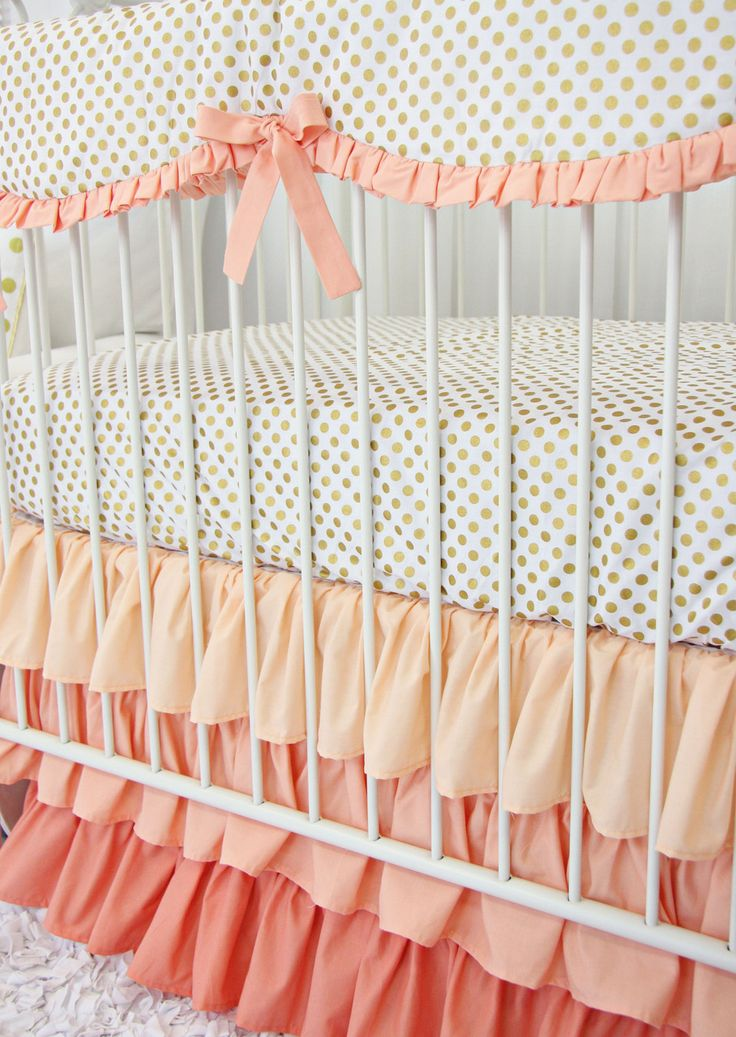Coral and Gold Dot Ruffle Bumperless Crib Bedding