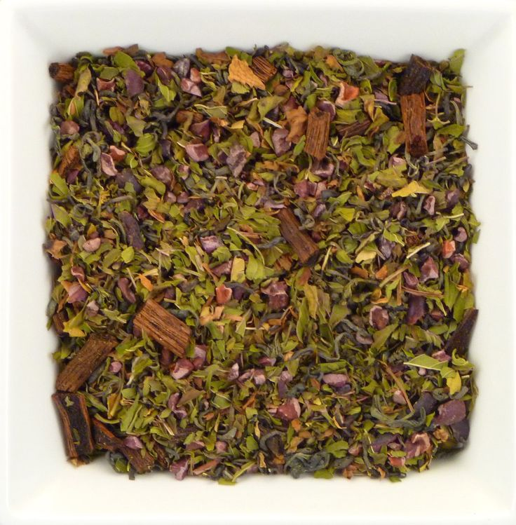 A delightful mixture gives you the traditional after dinner mint in tea form. So go ahead, and treat yourself to this luxurious alternative. Ingredients: Organic chunmee green tea, cocoa nibs, peppermint, vanilla bean