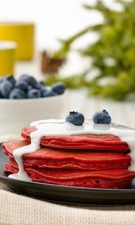 Red Velvet Pancakes Recipe from our friends at Bisquick