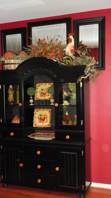 Fall Decorating For China Cabinet Dining Room Makeover
