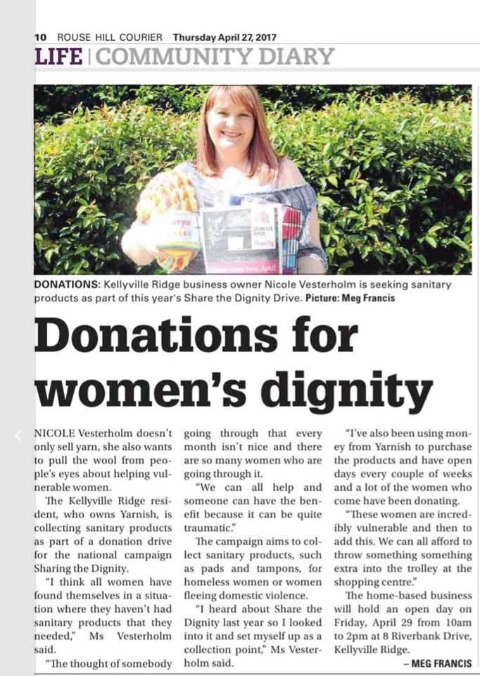 Yarnish is featured in this weeks local paper - Rouse Hill Courier - Page 10. Don't forget we are open this Saturday to receive your donations of Sanitary Produ