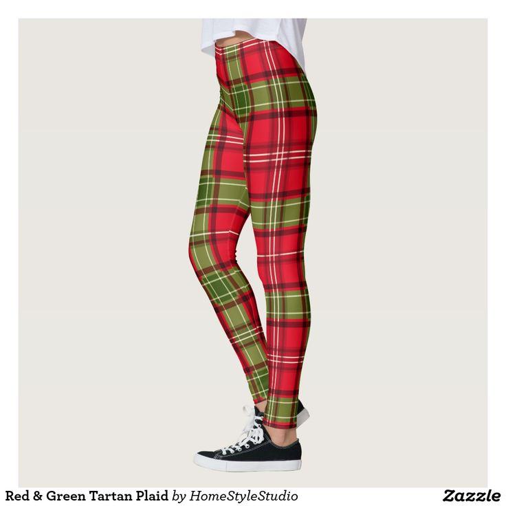 Red & Green Tartan Plaid Leggings