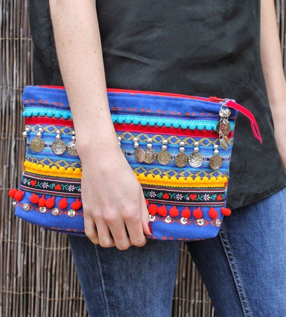 Ethnic Embellished Clutch Bag by RENIQLO on Etsy, £18.00