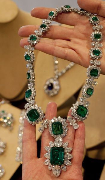 Elizabeth Taylor's emerald and diamond necklace and pendant, part of a suite by BVLGARI was a gift from Richard Burton.