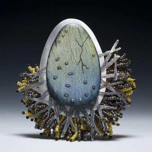 """Deb Karash & Deborah Rogers Collaboration """"Nurture"""" Sculpture & Brooch"""