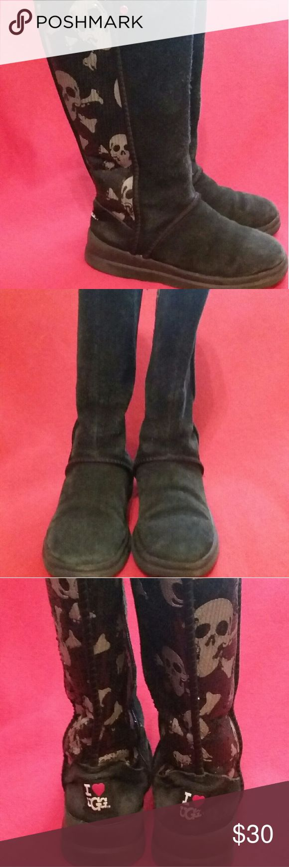 Women's Ugg Boots Preloved Cute Black Uggs with Skulls & Sequins Sz 6. Shows signs of wear have alot of life left. 8 out of 10. UGG Shoes Winter & Rain Boots