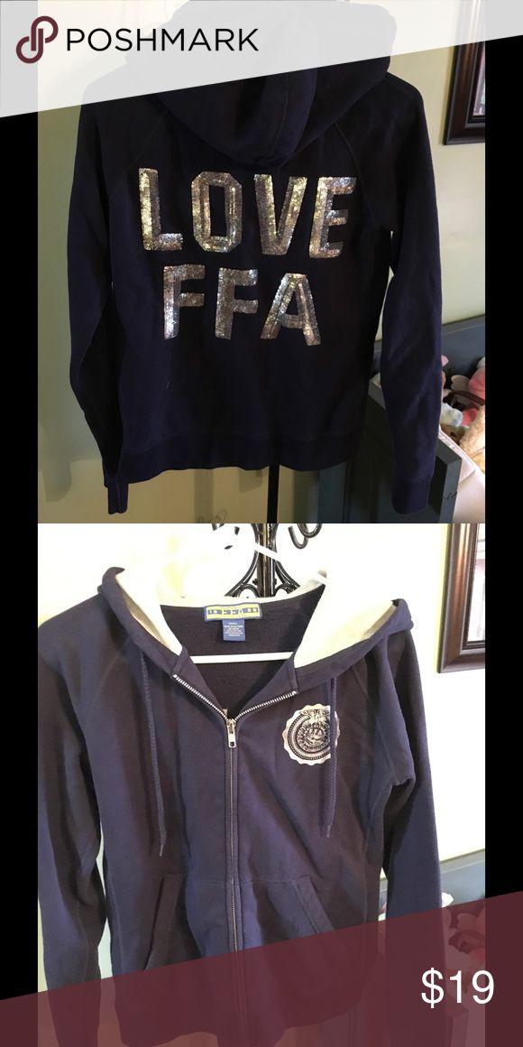 FFA Navy Zip Up Hoodie FFA zip up Hoodies silver sequined Love FFA on back logo on front worn once FFA Tops Sweatshirts & Hoodies