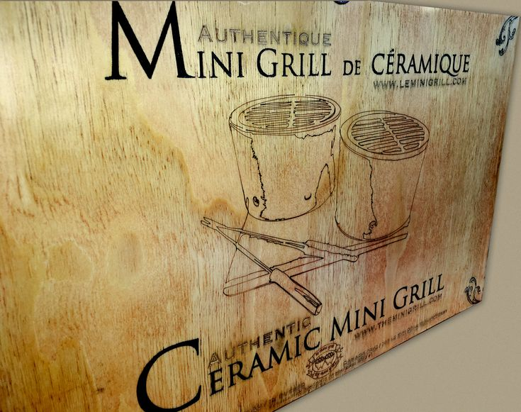 Laser engraved retro design style on wood of the Mini Grill box set.