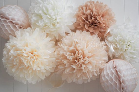 Neutrals .. 5 tissue paper pom poms .. wedding by PartyPoms, $20.00