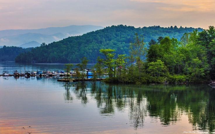 Fontana lake is beautiful and this sunset at almond boat for Fontana lake fishing