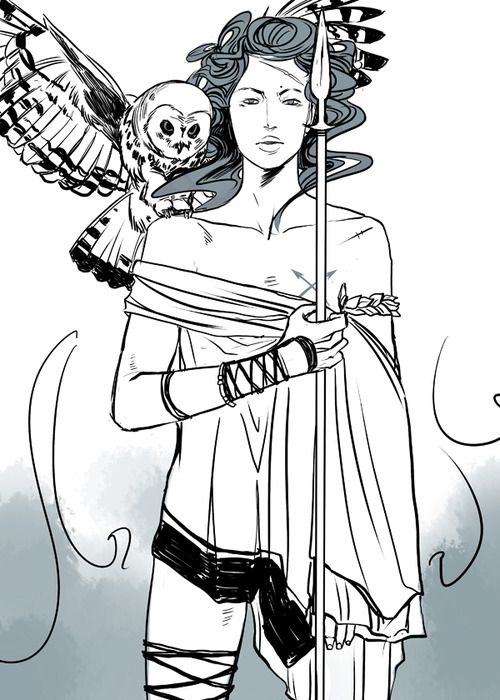 """""""ATHENA! Goddess of Wisdom, Master of Courage! She popped out of Zeus's head fully grown and ready for battle. And is his favorite child.""""  Part of my Greek Mythology series! [See the rest here!]"""