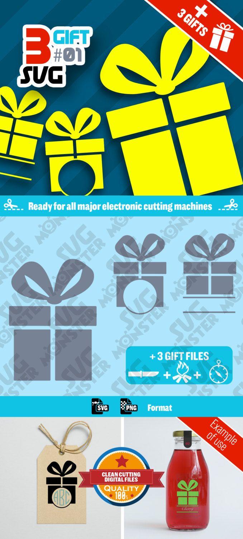 3 SVG GIFT Svg BOX #02 • Cut Files for Electronic Vinyl Cutter • png • Cricut Design Space, Silhouette Xmas Christmas Birthday • 019 de la boutique SVGmonster sur Etsy