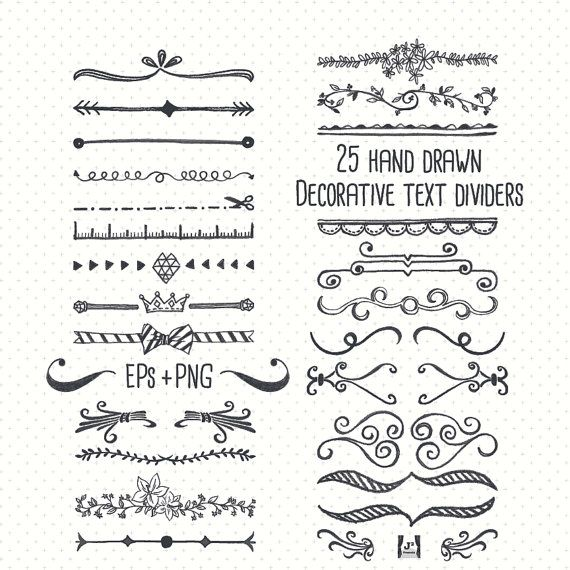 Chalkboard Text Divider Clip Art Hand Drawn EPS  PNG ideal