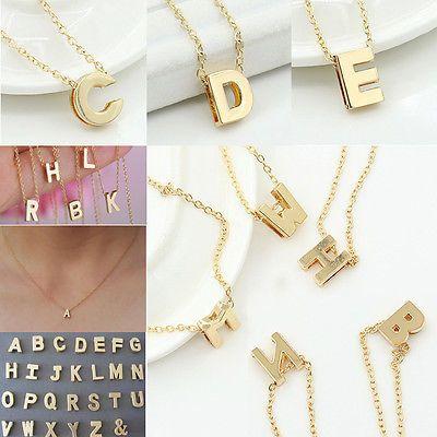 Alla Moda Da Donna Oro Lettera Nome Collana Iniziale Catenina Ciondolo Gioielli
