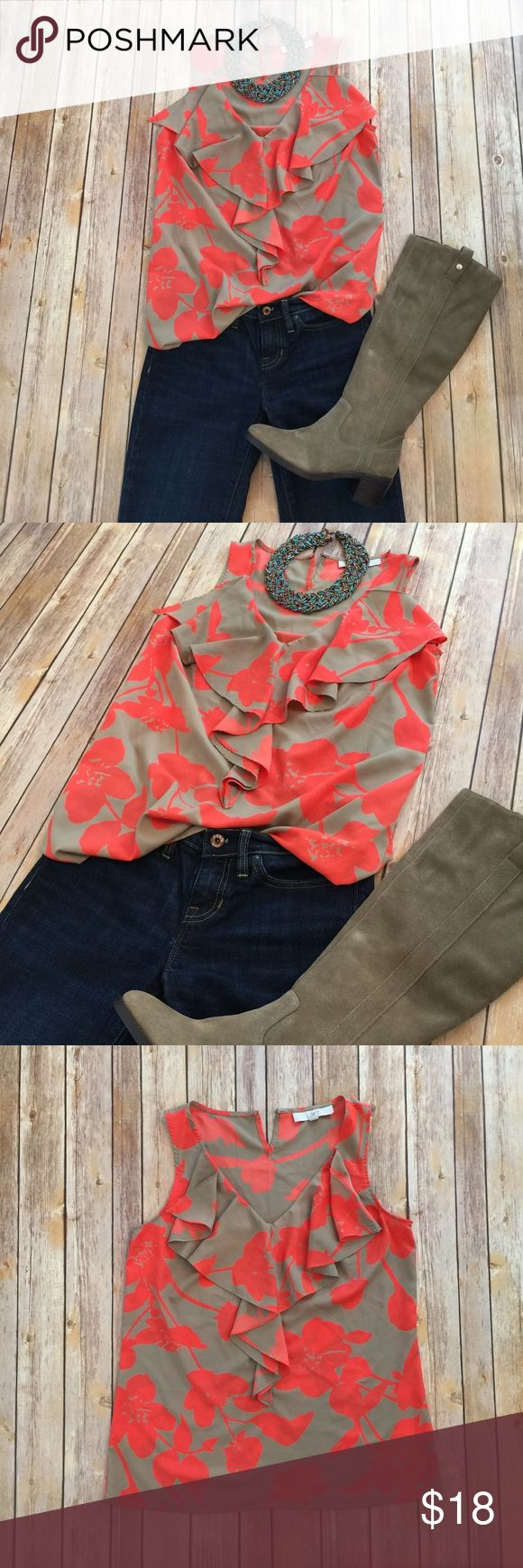 Ruffle V-veck Sleeveless Blouse Great top for fall with a cardigan or summer worn solo. Perfect length for the slouchy tuck in. This top is gently worn- see photo of missing button on back, nothing a needle and tread can't fix. The button is unnecessary as the neck has plenty of room.  Paired with Gap denim, light brown stacked heel riding boots, and a turquoise statement necklace. Ann Taylor Tops Blouses