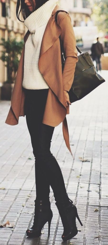 Love everything about this outfit for winter. Black jeans and boots bulky cream sweater with cute beige coat