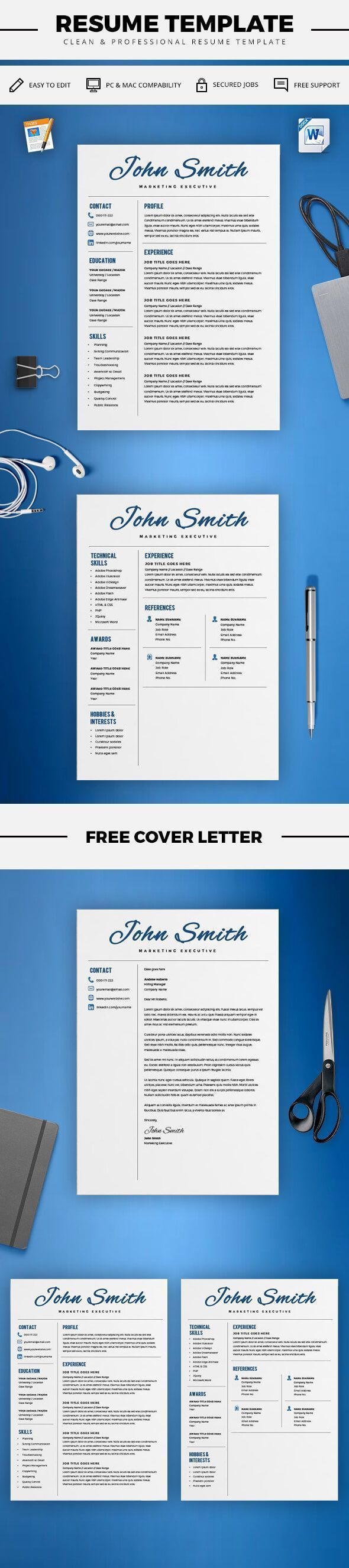 Creative Resume Template - CV Template + Cover Letter - Word and Pages - 2 Page Resume - Best Resume Templates - Instant Download