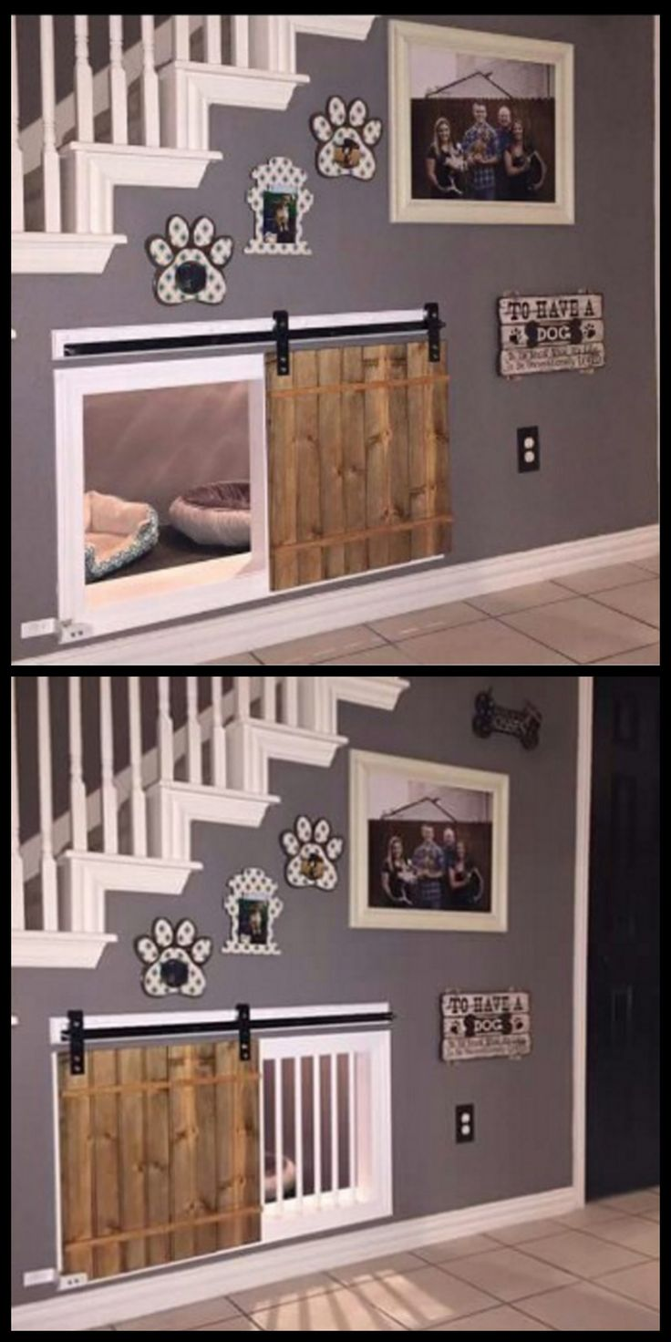 Awesome dog kennel under the stairs design idea. If you want an indoor dog…