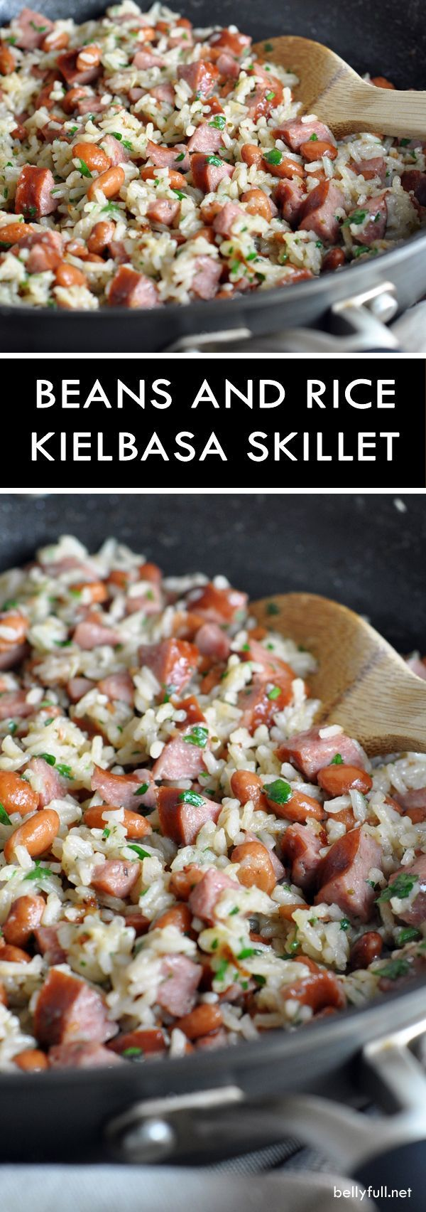 ONE-PAN BEANS AND RICE WITH KIELBASA - rice, pinto beans, and smoky pork kielbasa is combined for a delicious and quick skillet meal!