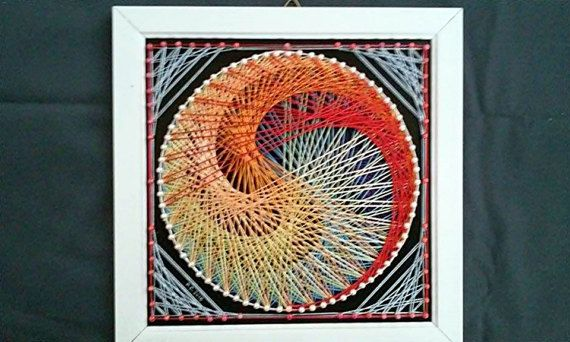 Rainbow Swirl String Art by SmARTcraftBoutique on Etsy