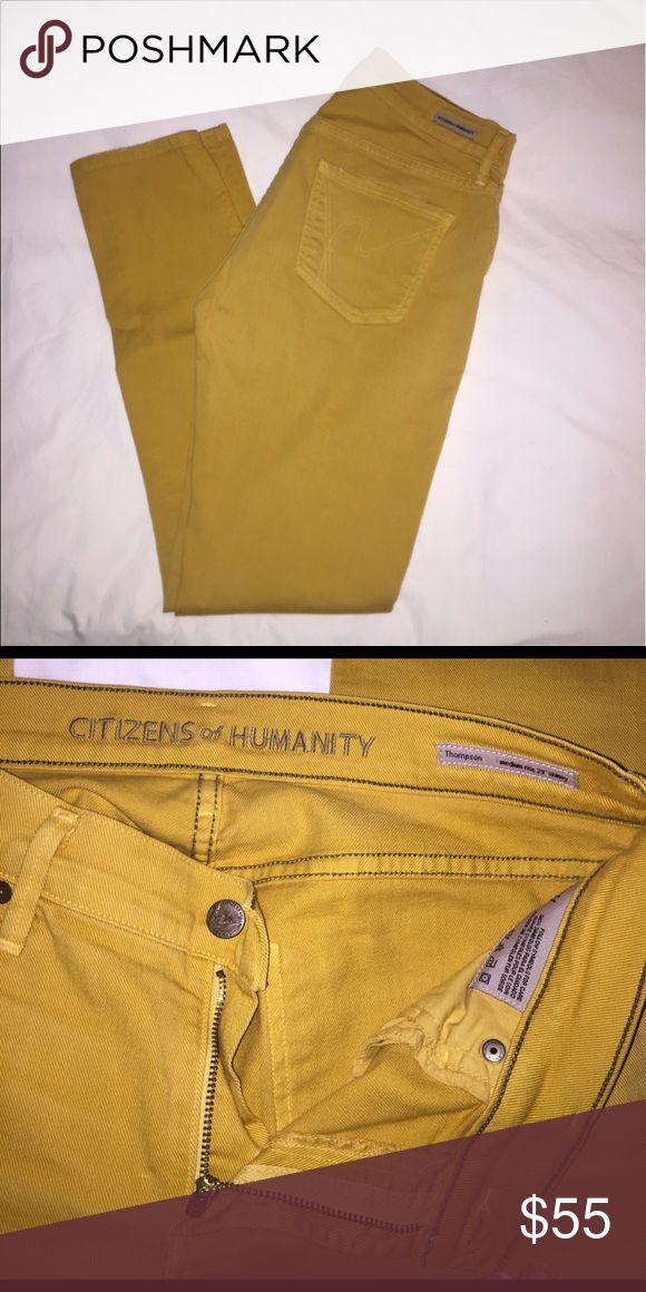 "Citizens of Humanity Mustard Yellow Skinny Jeans Citizens of Humanity Jeans in mustard yellow. Medium rise 29"" length skinny style. Size 28. Runs TTS. EUC!! 💜 Citizens of Humanity Jeans Skinny"