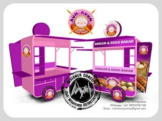 Desain Logo | Logo Kuliner |  Desain Gerobak | Jasa Desain dan Produksi Gerobak | Branding: Desain Gerobak Dorong Dimsum Sosis Bakar Nom Nom