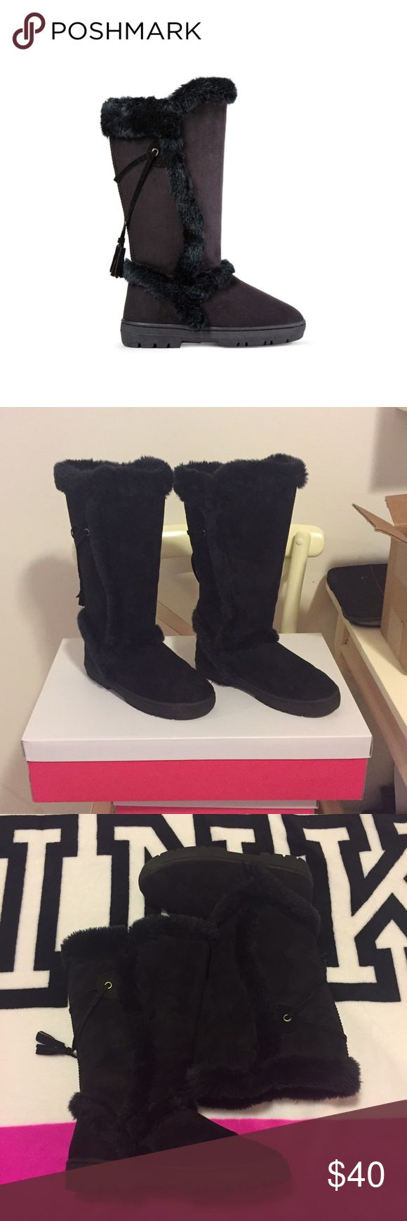 💕ANCHORAGE FUZZY BOOTS * COMPLETELY SOLD OUT  * Description: They've stolen our heart and we've given them sole! Take on the terrain in these chic, fur trimmed Fuzzies. Includes rugged tread for added grip. Faux suede.  * In perfect condition; only worn 2 or 3 times * ⚠️Please note that since these come with their original box & that they are stiff (meaning they don't bend) I would have to purchase a bigger box than USPS carries. If you don't wish to have the original box let me know please…