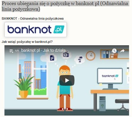 Proces ubiegania się o pożyczkę w banknot pl (Odnawialna linia pożyczkowa)