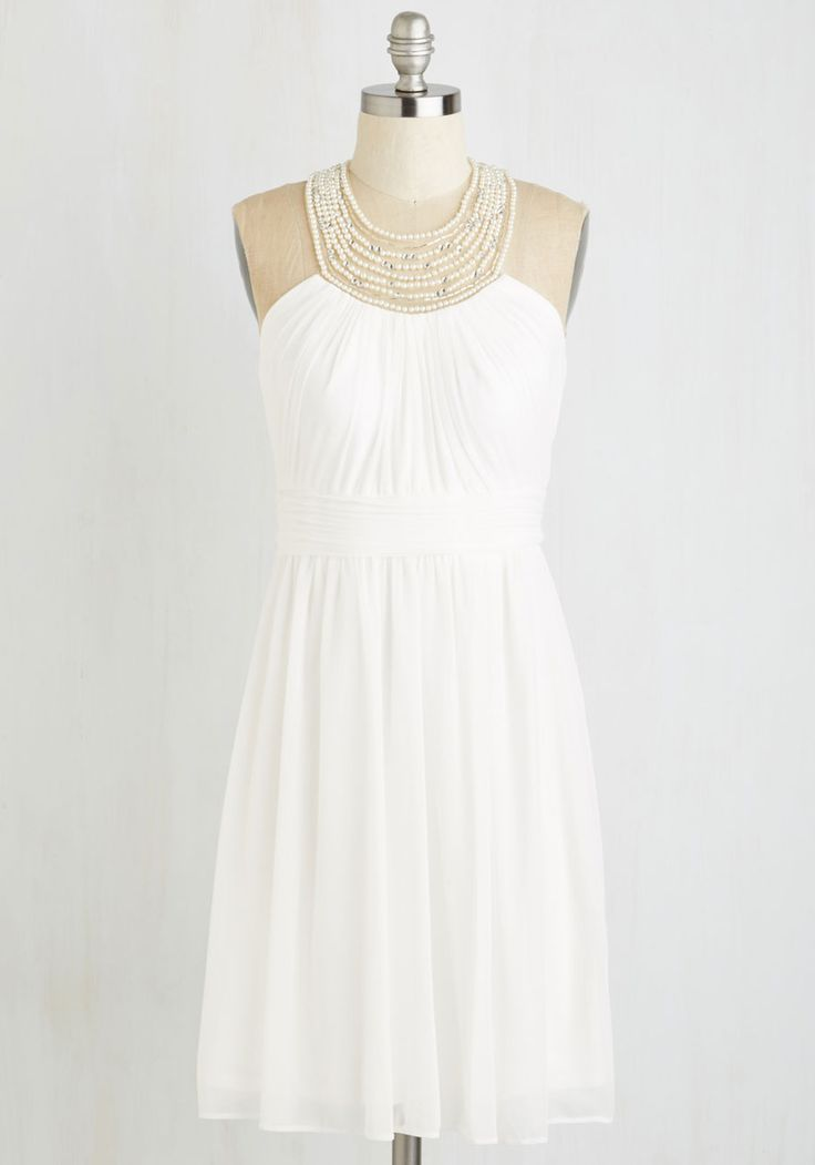 Dame of Dazzle Dress. 'Regal' will be your middle name in this stately snow white stunner! #white #prom #modcloth