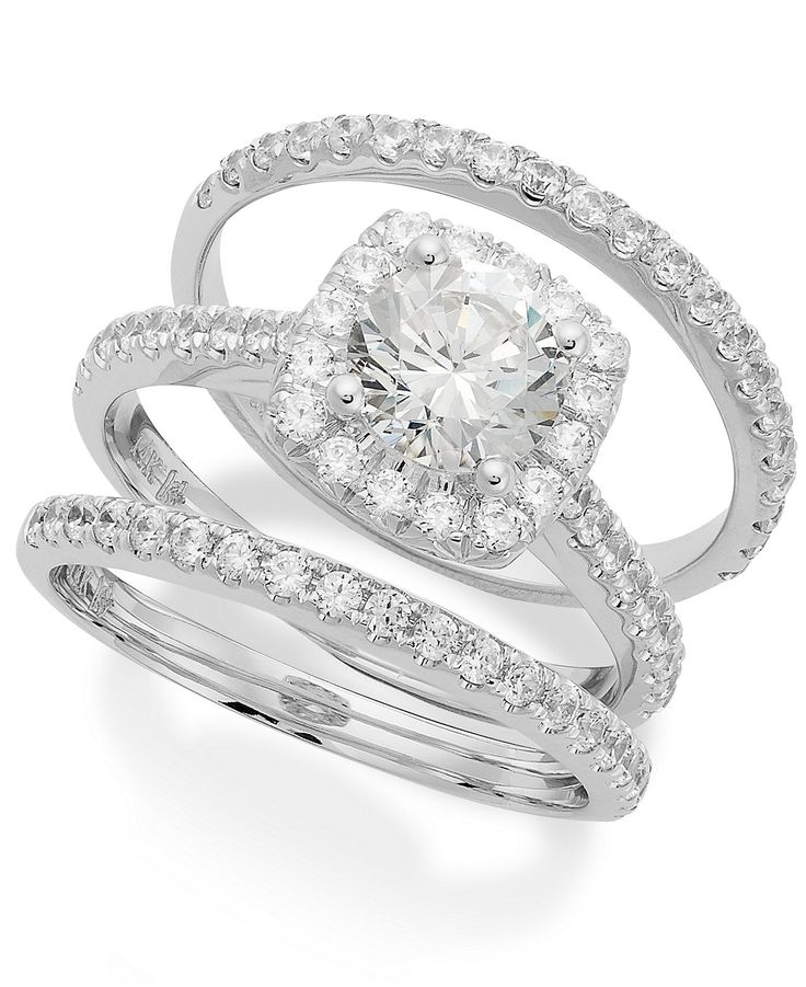 My Diamond Story Bridal Set, 18k White Gold Certified Diamond Halo Ring Set (2 ct. t.w.) - My Diamond Story - Macy's