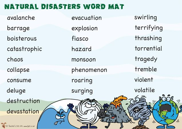 Teacher's Pet Displays » Natural Disasters Word Mat » FREE downloadable EYFS, KS1, KS2 classroom display and teaching aid resources