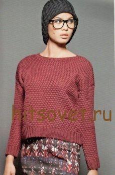 Короткий пуловер спицами женский http://hitsovet.ru/korotkij-pulover-spicami-zhenskij/