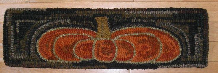 Hand Hooked Rug Early Style Primitive Orange Pumpkin Hooked Rug | eBay