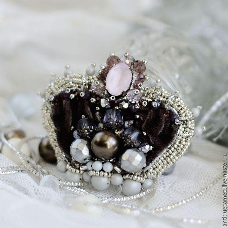 Купить Брошь-корона (шоколад) - шоколадный цвет, винтажный стиль, викторианский стиль, викторианская эпоха