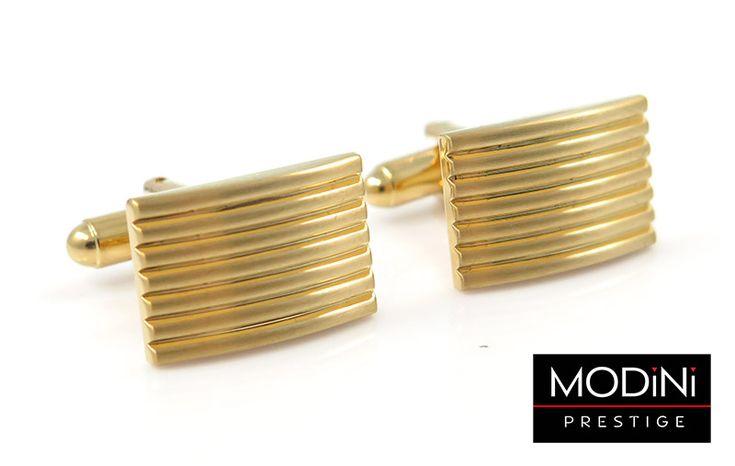 Złote spinki do mankietów z poziomymi liniami - https://modini.pl/28-spinki-do-mankietow