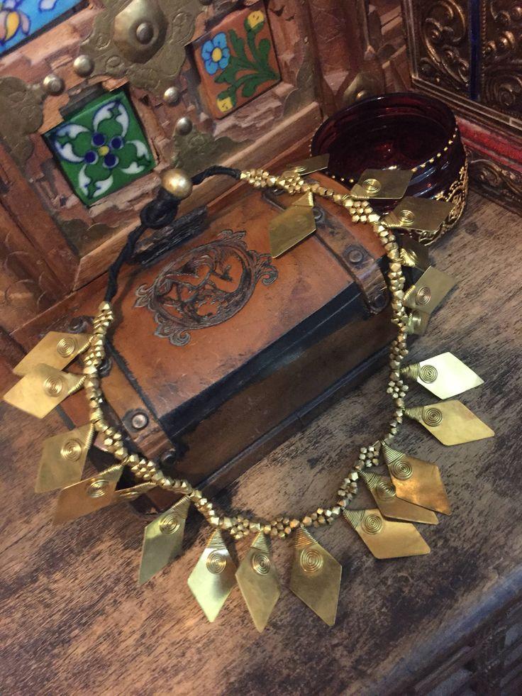 Tribal spiral brass necklace -  ethnic jewellery  - bedouin - ethnic necklace - statement necklace - ancient jewelry - artisan jewelry by Omanie on Etsy