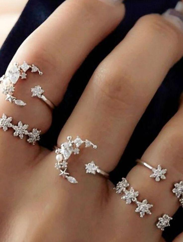 Set de anillos de cristal Moonlight
