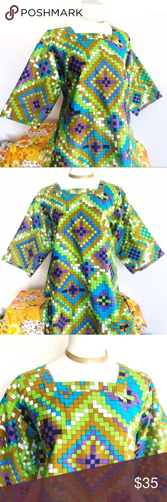 VTG🌈60s Handmade Psychedelic Smock Top! Be still. My heart. YOU GUYS. Absolute show-stopping 60's smock top. True vintage. Handmade item, in pristine, like-new condition. The fabric on this top is one of my favorites of all time - electric hues in an Aztec vibe square psychedelic pattern. Features square neckline, draped hem & ties at the back - show the perfect, subtle amount of skin 😍 Can be worn as a dress, belted, with leggings or bells. One size fits all! Deadstock condition. Vintage…