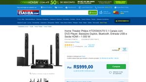 [Casas Bahia] Home Theater Philips HTD5580X / 78 5.1 Canais com DVD Player, Bassipes Duplos, Bluetooth, Entrada USB e Saída HDMI 1.000 W…