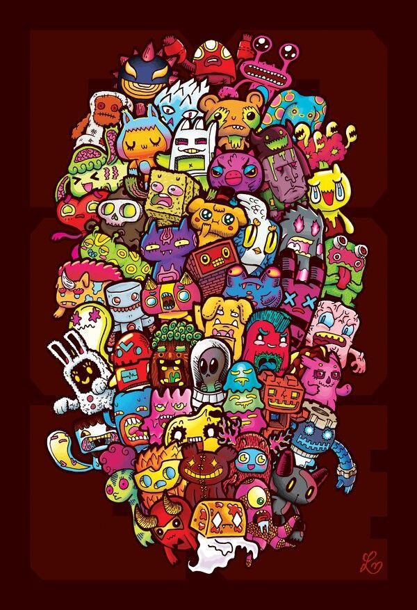 33 best colo doodle invasion images on pinterest for Doodle art monster