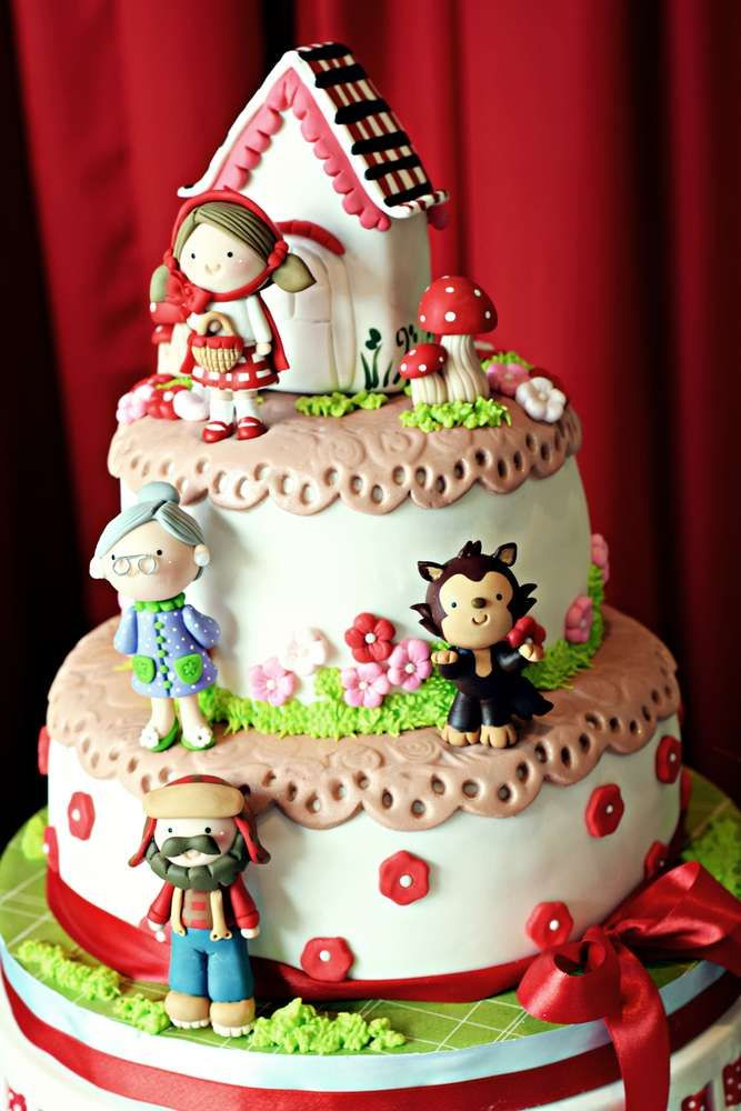 What an incredible cake at a Little Red Riding Hood birthday party! See more party ideas at CatchMyParty.com!