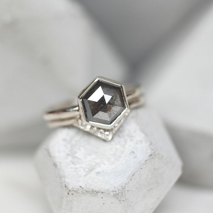 1.66 Carat Grey Hexagon Diamond Engagment Ring, 14k White Gold