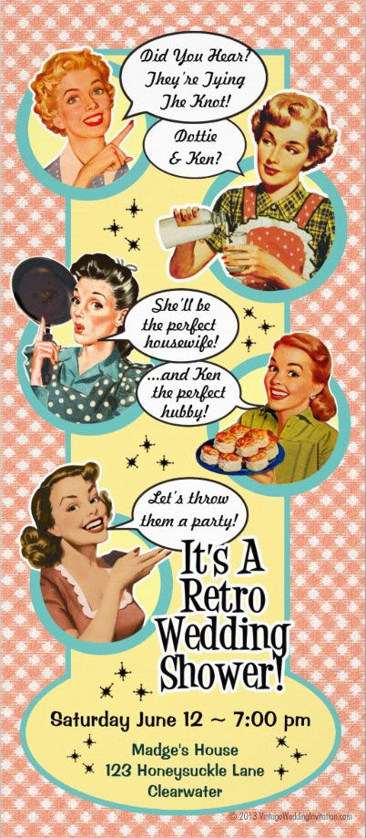 Read our blog about How to Throw a Retro Housewife Bridal Shower!