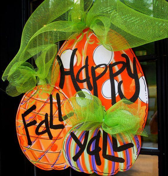 Fall Door Hanger, Pumpkin Door Decoration, Fall Home Decor via Etsy