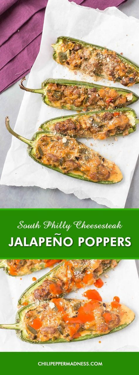 South Philly Cheesesteak Jalapeno Poppers - A recipe for jalapeno poppers stuffed with chopped steak, caramelized onions and peppers, and melty cheese wiz, topped with crunchy bread crumbs and splashed with hot sauce. These are the perfect bite.