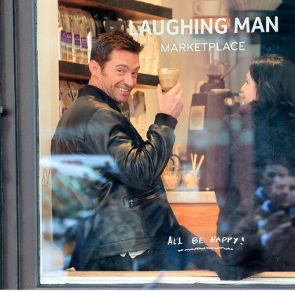 A wonderful story: Hugh Jackman at Laughing Man Coffee and Tea-all profits are donated to charity/helping sustain environmental conditions and sustain coffee growers.: