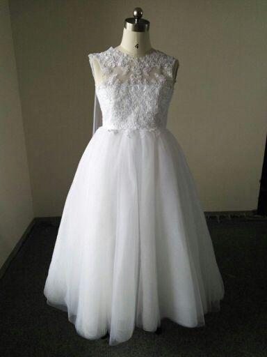 Vestido de encaje Vestido de boda de tul con flor de niña junior Cola Larga Dama De Honor bebé de Pascua